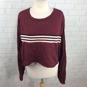 Rue21 cropped top long sleeves burgundy red